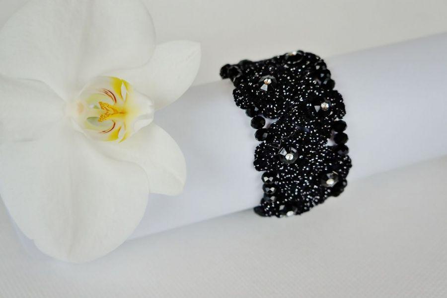 Bransoletka szydełkowa czarno-srebrna 4
