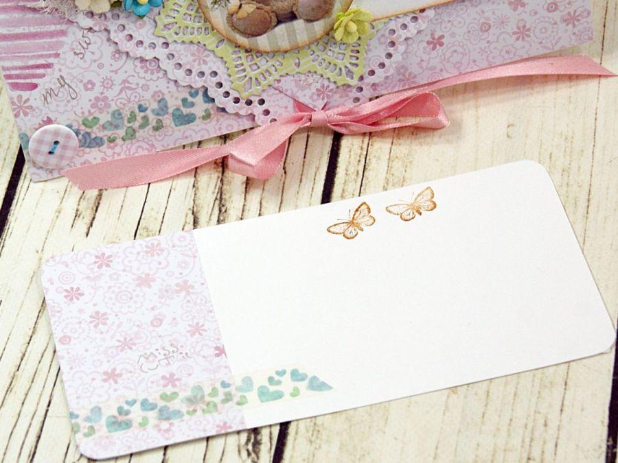 kartka na roczek dla dziewczynki- miś