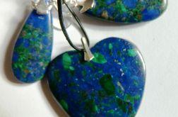 Lapis lazuli i malachit, unikatowy zestaw, sr