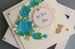 Turkusowy bukiecik dla nowożeńców