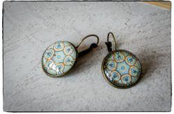 Kolczyki szklany kaboszon ~Ornament~ Mandala