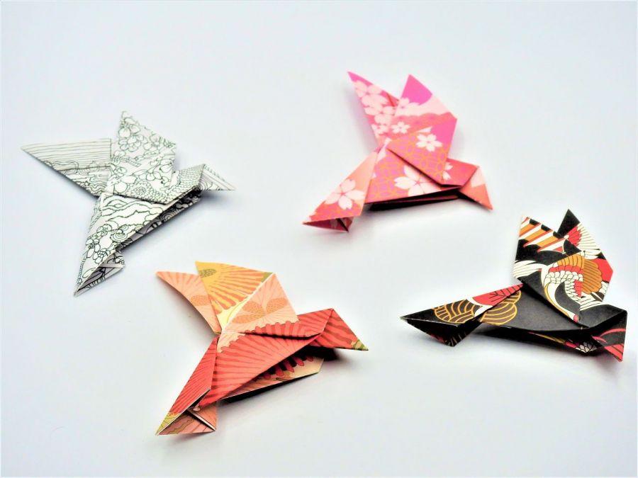Magnes na lodówkę origami ptaszek rózowo-żółty - 3