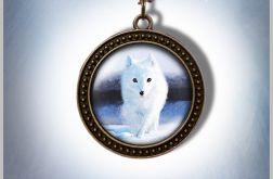 Naszyjnik, medalion - Biały lis - antyczny brąz - zdobiony