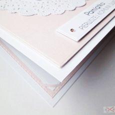 Kartka PAMIĄTKA I KOMUNII różowo-biała #1