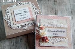 Kartka na ślub w pudełku - z kwiatami