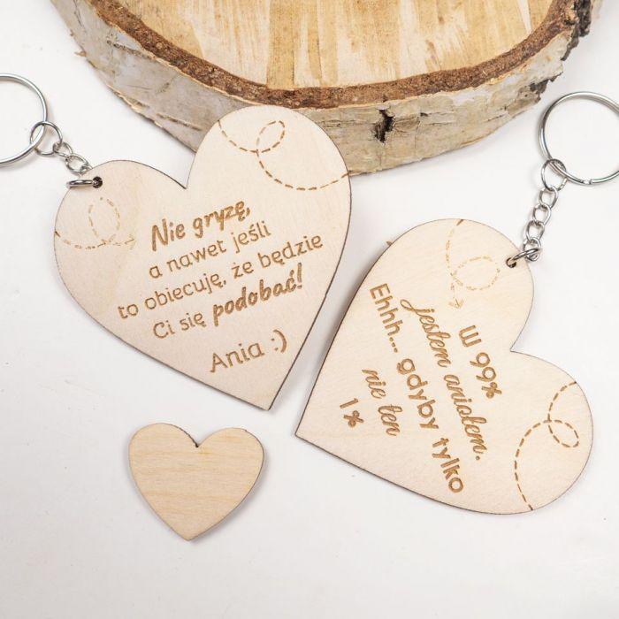 Brelok - serce, walentynki, dzień kobiet - zawieszka, drewniana zawieszka, zawieszka do samochodu, walentynki
