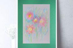 Rysunek z kwiatami na ciemnozielonym tle nr 4