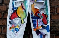 jeansy boyfriend recznie malowane picasso