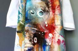recznie malowana sukienka abstrakcja