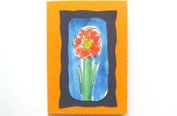 Kartka oranżowa z kwiatkiem 13