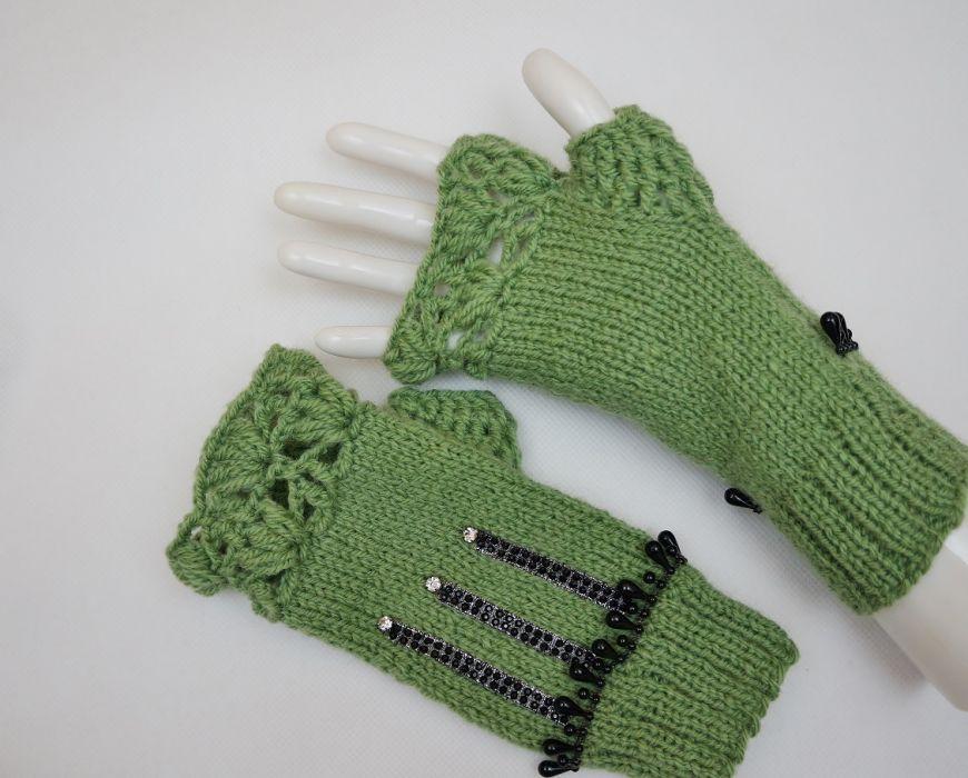 Mitenki ręcznie robione wełna zielone
