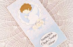 Kartka z aniołkiem na Chrzest Św. (wzór)