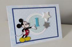 Kartka na Roczek ręcznie robiona Myszka Miki A6
