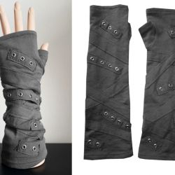 Rękawiczki szare, rockowe