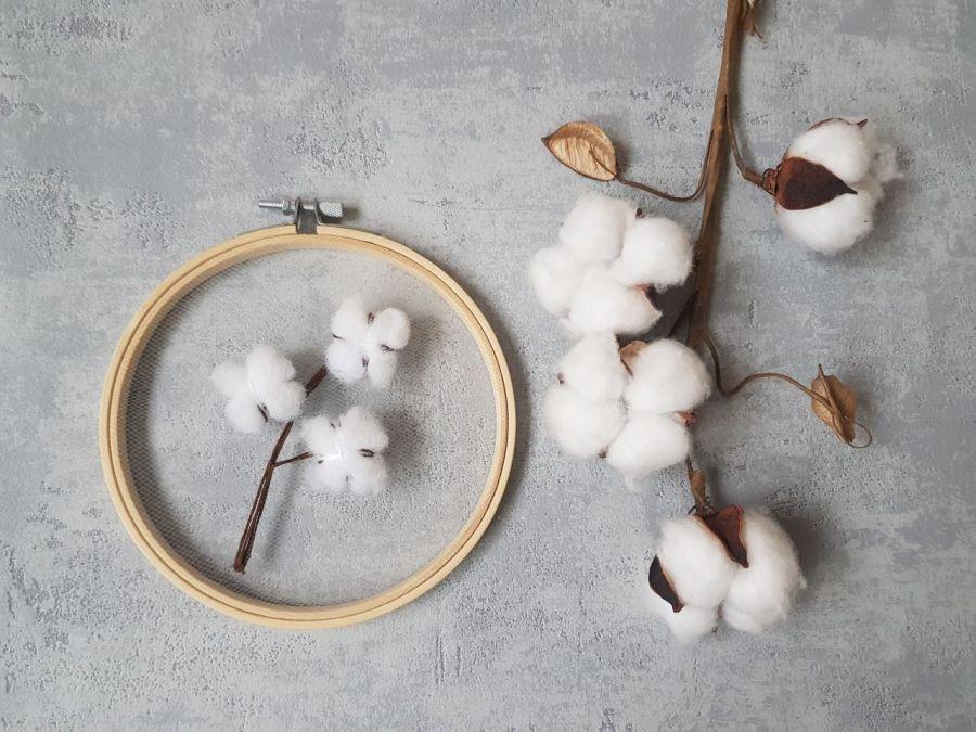 haft na tiulu: gałązka bawełny