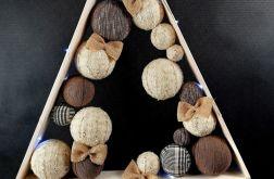 Drewniana choinka hand made w brązach LED