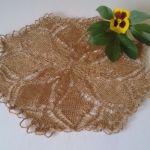 Serwetka na drutach 30 cm stare złoto - Serwetka koronkowa stare złoto nici syntetyczne