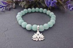 Bransoletka Kwiat Lotosu Jadeit Srebro 925