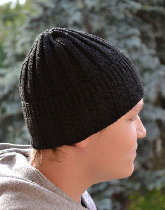 Czarna czapka wywijana -cieplutka