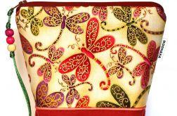 kosmetyczka - ważki  - wiśniowa czerwień