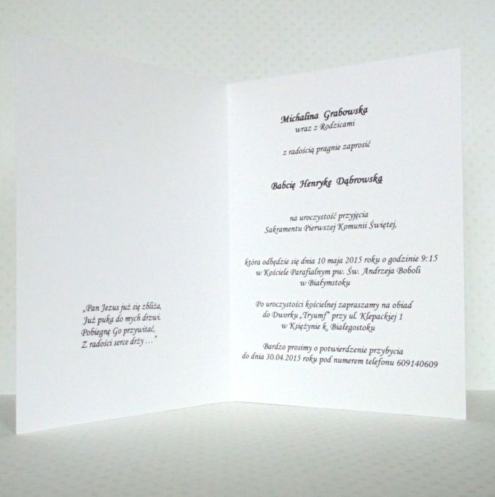 Zaproszenie na I Komunię Św. w bieli #1