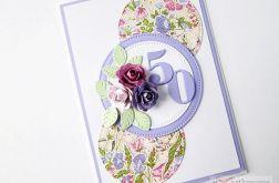 Kartka URODZINOWA fioletowo-różowa