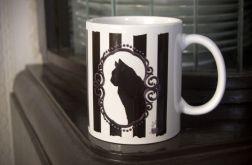 Kubek z czarnym kotem, retro, gothic