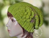 czapka degra - zielień z kwiatem