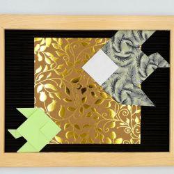 Obrazek origami w ramce do powieszenia Ryby