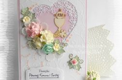 Kartka z ażurowym sercem róż