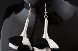 Kolczyki materiałowe Silk białe czarne