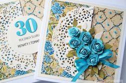 Kartka ROCZNICA ŚLUBU z niebieskimi różami