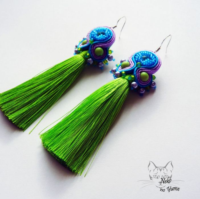 Trixie - kolczyki z chwostem turkus i zieleń