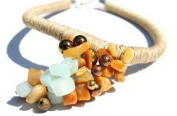 Naszyjnik z lnu i kamieni naturalnych Kei