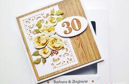 Kartka ROCZNICA ŚLUBU żółto-brązowe róże