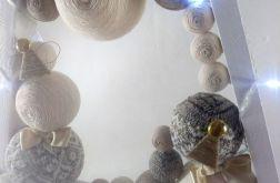 Drewniana duża choinka biało-beżowa LED