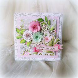 Bogato zdobiona kartka ślubna