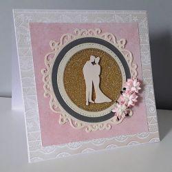 Kartka ślubn na ślub para młoda kwiaty astry