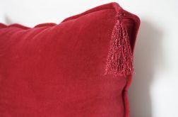 Welurowa bordowa poduszka z chwostem 30x50