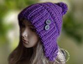 czapka uszatka  fiolet