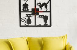 zegar CZYTELNY ścianę KWADRAT kot PREZENT