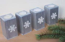 Świeczniki na stół świąteczny srebrne