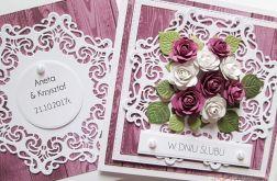 Kartka W DNIU ŚLUBU fioletowo-biała #1