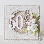 Kartka urodzinowa - okrągła '50' v.2 - braz1g