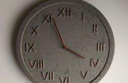 Zegar Betonowy Handmade Ciemnoszary Miedź 45