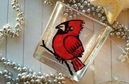 świecznik szklany malowany ptak 1