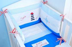 Morski ochraniacz do łóżeczka, poszewka na kołdrę i poduszkę