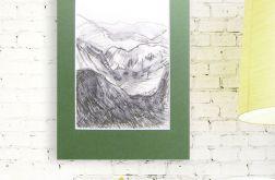 czarno biały rysunek widok górski szkic n17