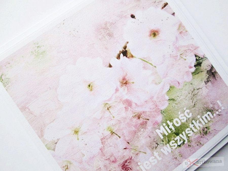 Kartka ŚLUBNA z grafiką - jasnoróżowa - Jasnoróżowa kartka na ślub z grafiką
