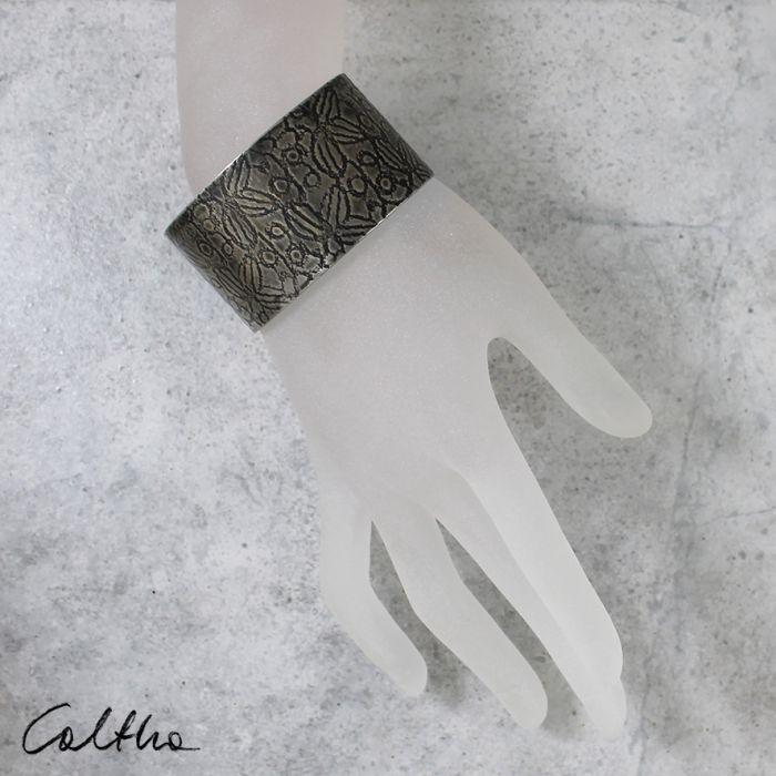 Metalowa bransoleta - liście 171029-02 - Szeroka bransoletka